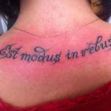 """Надпись на спине на латинском - """"Есть мера в вещах"""""""