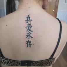 Татуировка иероглифы на спине